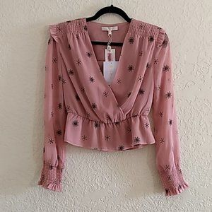 WAYF Harrison Pink Peplum Long Sleeve Top XS